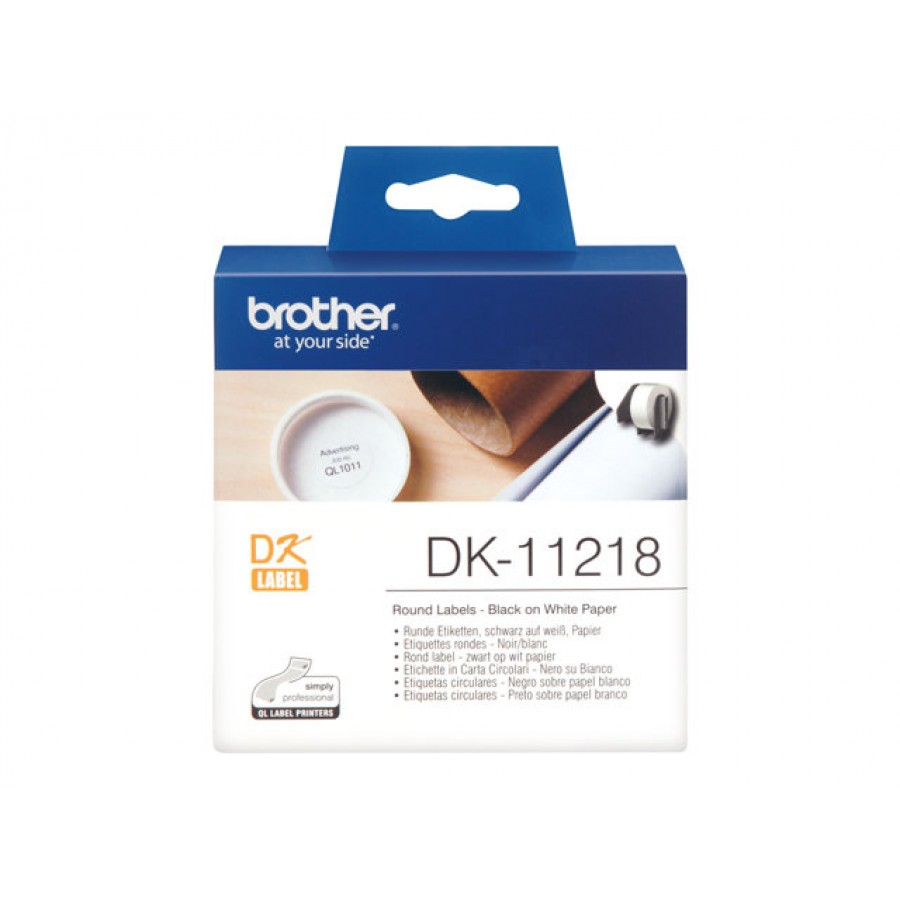 Brother DK-11218, Runde papirlabels